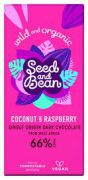 Seed & Bean - Pure chocolade 66% - Coconut & Raspberry - 85 g